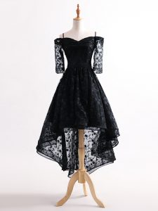Shining Black Lace Up Straps Lace Tulle Half Sleeves