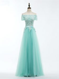 Apple Green Short Sleeves Floor Length Lace and Appliques Lace Up Hoco Dress
