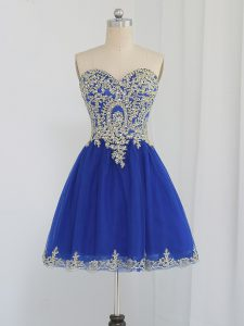 Sleeveless Mini Length Beading Zipper Homecoming Dress Online with Royal Blue
