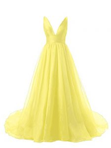 Backless Prom Homecoming Dress Yellow for Prom and Party and Military Ball with Ruching Brush Train