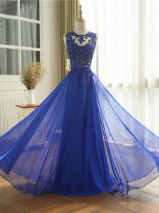 Royal Blue Homecoming Dress Online Prom and Military Ball and Beach with Appliques Scoop Sleeveless Zipper