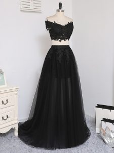 Black Off The Shoulder Neckline Beading Hoco Dress Sleeveless Zipper
