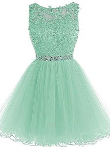 Vintage Apple Green Zipper Hoco Dress Beading and Lace and Appliques and Ruffles Sleeveless Mini Length