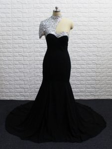 New Style Zipper Prom Homecoming Dress Black for Prom and Party and Military Ball with Beading Brush Train