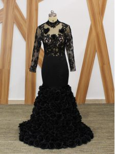 Black High-neck Neckline Beading and Lace and Appliques and Hand Made Flower Long Sleeves Backless