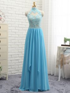 Sleeveless Floor Length Appliques Backless Junior Homecoming Dress with Baby Blue