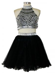 Exceptional Black Tulle Criss Cross Halter Top Sleeveless Mini Length Homecoming Gowns Beading