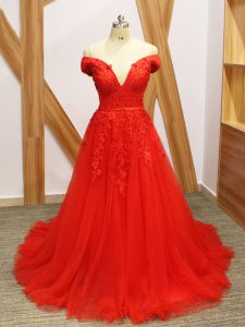 Gorgeous A-line Sleeveless Coral Red Homecoming Dresses Brush Train Lace Up