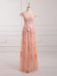 Eye-catching Tulle Cap Sleeves Floor Length Homecoming Gowns and Lace and Appliques and Belt