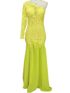 Flare Brush Train Column/Sheath Homecoming Gowns Yellow One Shoulder Chiffon Long Sleeves Side Zipper