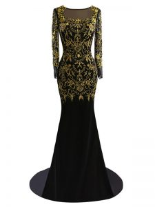 Black Homecoming Party Dress Chiffon Brush Train Long Sleeves Beading