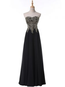 Fitting Black Chiffon Side Zipper Junior Homecoming Dress Sleeveless Floor Length Beading and Appliques