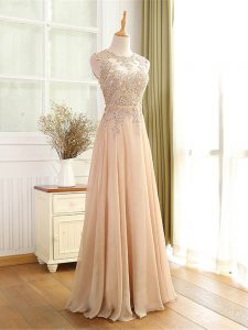Sleeveless Floor Length Beading and Appliques Zipper Homecoming Party Dress with Champagne