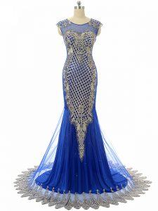 Nice Beading and Lace and Appliques Prom Homecoming Dress Royal Blue Side Zipper Sleeveless