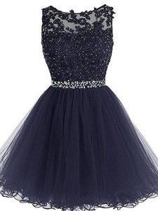 Dazzling Scoop Sleeveless Tulle Homecoming Dress Beading and Lace and Appliques and Ruffles Zipper