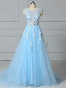 Scoop Sleeveless Homecoming Gowns Brush Train Lace Baby Blue Tulle