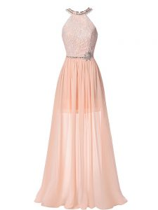 Peach Empire Chiffon Halter Top Sleeveless Beading Floor Length Backless Hoco Dress