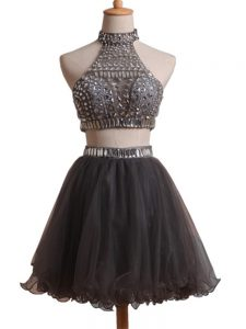 Gorgeous Black Sleeveless Mini Length Beading Criss Cross Homecoming Gowns