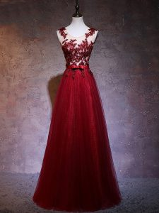 Straps Sleeveless Backless Prom Homecoming Dress Wine Red Elastic Woven Satin