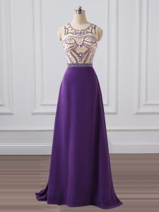 Unique Purple Sleeveless Chiffon Brush Train Zipper Homecoming Dress Online for Prom and Military Ball and Sweet 16