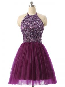 Dark Purple Halter Top Neckline Beading and Sequins Junior Homecoming Dress Sleeveless Backless