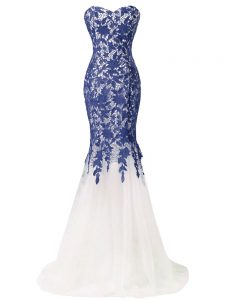 Blue And White Mermaid Beading and Lace and Appliques Prom Homecoming Dress Zipper Tulle Sleeveless