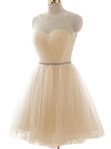 Romantic Tulle Scoop Sleeveless Lace Up Beading and Ruching Homecoming Party Dress in Champagne