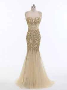 Edgy Champagne Tulle Zipper Homecoming Dress Online Sleeveless Brush Train Beading