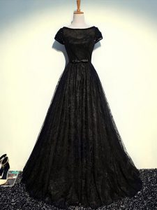 Ideal Floor Length Black Homecoming Dress Tulle Short Sleeves Beading and Lace and Belt