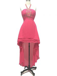 High Low Backless Homecoming Dresses Hot Pink for Prom and Party and Beach with Beading