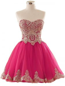 Hot Pink Sweetheart Neckline Appliques Homecoming Dresses Sleeveless Lace Up