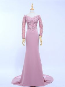 Chiffon Long Sleeves Homecoming Dress Online Brush Train and Lace and Appliques