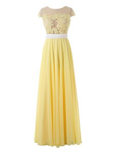 Low Price Yellow Empire Organza Scoop Sleeveless Lace and Appliques Floor Length Side Zipper Junior Homecoming Dress