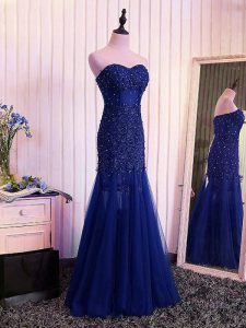 Custom Designed Tulle Sweetheart Sleeveless Lace Up Beading and Lace and Appliques and Pleated Hoco Dress in Royal Blue