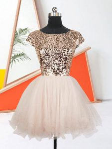 Luxury Short Sleeves Sequins Lace Up Homecoming Party Dress