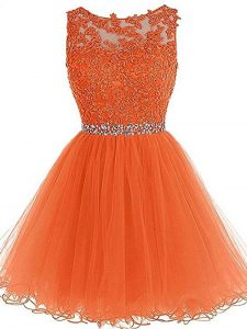 Orange Scoop Neckline Beading and Ruffles Homecoming Dress Sleeveless Zipper