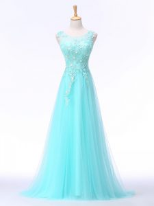 Lace and Appliques Aqua Blue Backless Sleeveless Brush Train