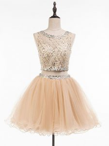 Chic Champagne Homecoming Dress Online Prom and Party and Sweet 16 with Beading Scoop Sleeveless Side Zipper