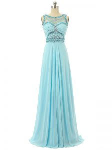 Excellent Aqua Blue Empire Scoop Sleeveless Chiffon Floor Length Zipper Beading Junior Homecoming Dress