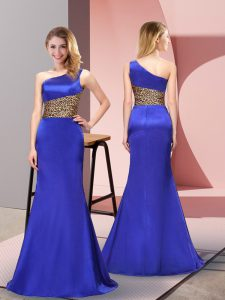 One Shoulder Sleeveless Elastic Woven Satin Junior Homecoming Dress Pattern Side Zipper