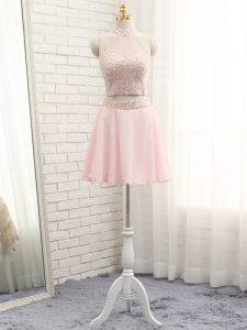 Pink Homecoming Dress Prom and Party and Sweet 16 with Beading Halter Top Sleeveless Zipper