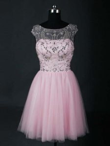 Fashionable Scoop Short Sleeves Tulle Homecoming Dress Online Beading Lace Up