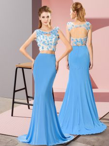 Baby Blue Column/Sheath Beading and Hand Made Flower Homecoming Party Dress Backless Chiffon Sleeveless