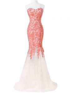 White Mermaid Lace and Appliques Homecoming Party Dress Lace Up Tulle Sleeveless Floor Length