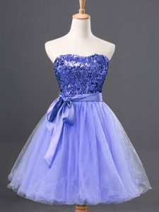 Flare Blue Sleeveless Tulle Zipper Homecoming Dresses for Prom and Party