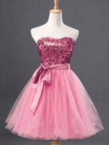 Rose Pink A-line Sequins Homecoming Party Dress Zipper Tulle Sleeveless Mini Length