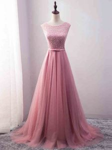 Pink Zipper Prom Homecoming Dress Beading and Belt Sleeveless Brush Train