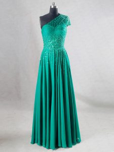 Lovely Floor Length A-line Sleeveless Turquoise Homecoming Dress Online Backless
