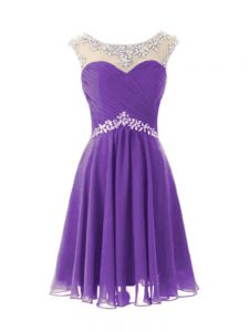 Eggplant Purple A-line Beading Homecoming Party Dress Zipper Chiffon Cap Sleeves Knee Length
