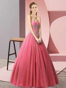 Best Coral Red Prom Homecoming Dress Prom and Party with Beading Sweetheart Sleeveless Lace Up